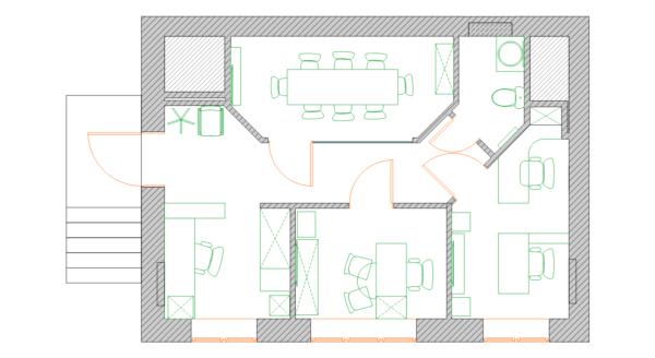 План офиса 40 квадратов