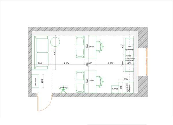 план мебели в офисе