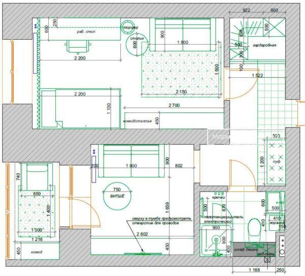 план квартиры однокомнатной